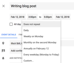 Create a recurring event in Google Calendar
