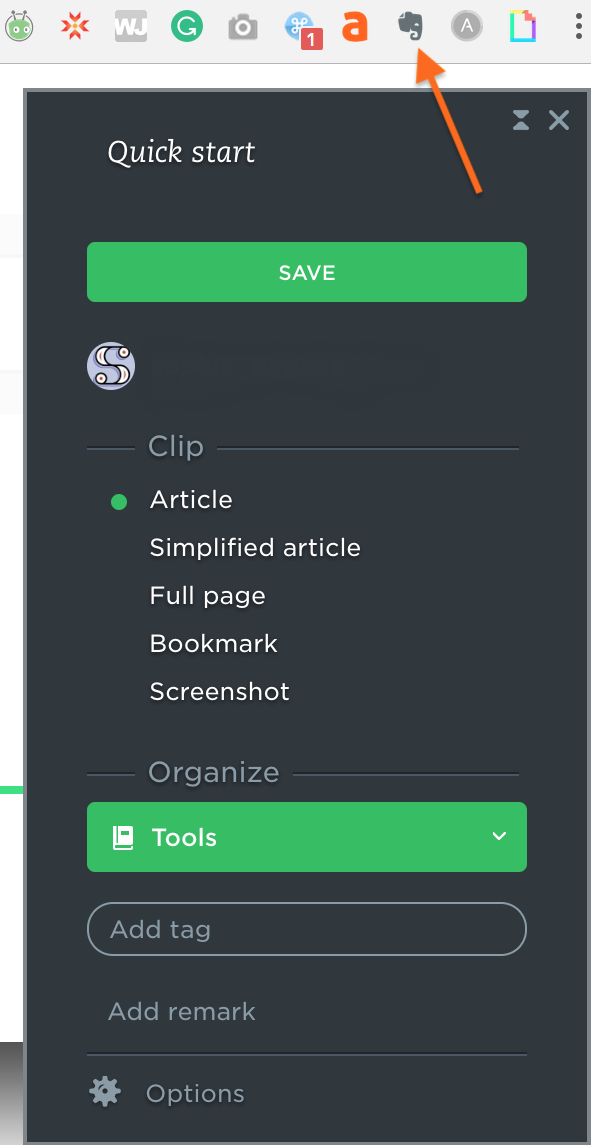 useful browser extensions-- The Evernote Web Clipper