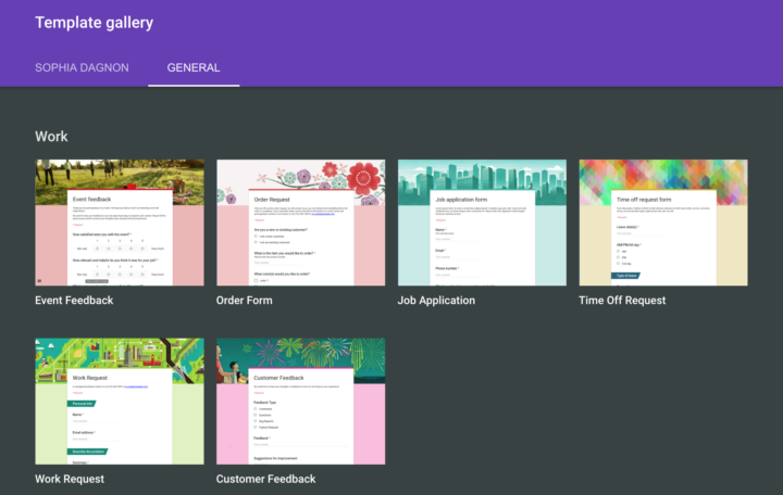 Google Forms Template Gallery