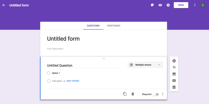 Google Forms-- starting off with a blank form