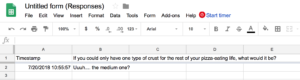 Google Forms-- Exporting the answers to Google Sheets