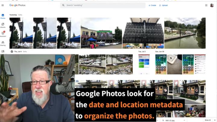 google photos organizes by metadata
